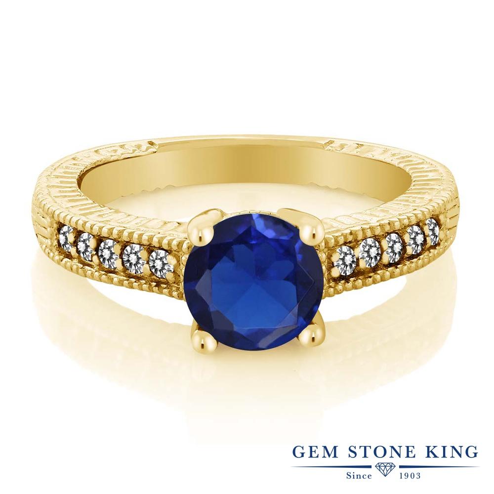 Gem Stone King 1.84カラット シミュレイテッド サファイア 天然 ダイヤモンド シルバー925 イエローゴールドコーティング 指輪 リング レディース 大粒 マルチストーン 金属アレルギー対応 誕生日プレゼント