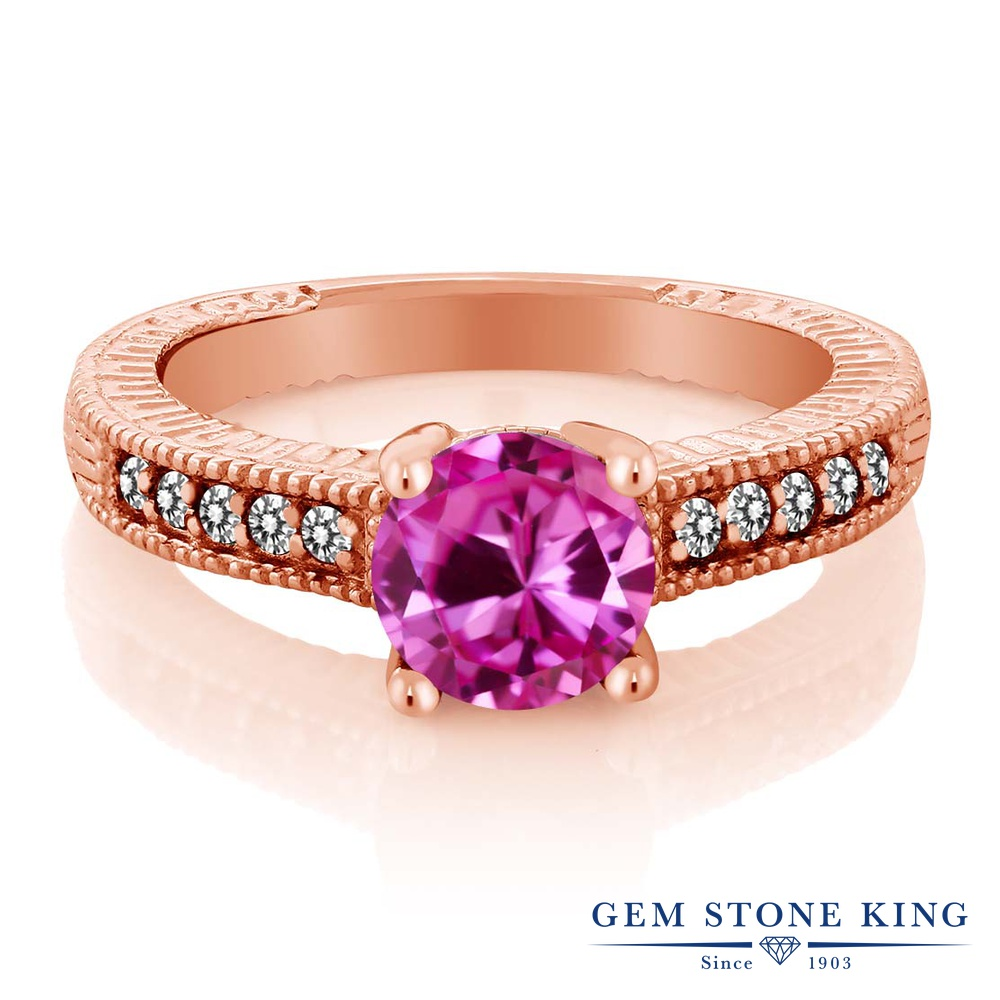 Gem Stone King 1.83カラット 合成ピンクサファイア 天然 ダイヤモンド シルバー925 ピンクゴールドコーティング 指輪 リング レディース 大粒 マルチストーン 金属アレルギー対応 誕生日プレゼント