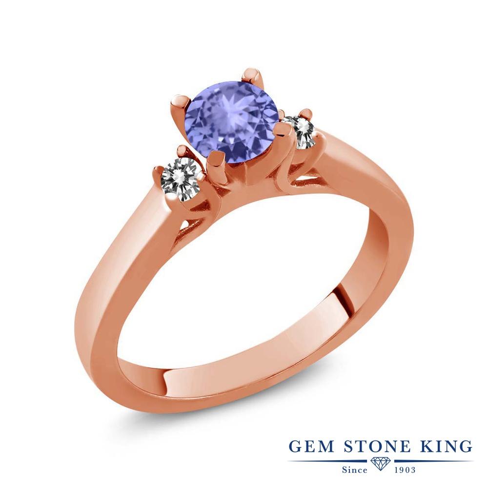 Gem Stone King 0.59カラット 天然石 タンザナイト 天然 ダイヤモンド シルバー925 ピンクゴールドコーティング 指輪 リング レディース 小粒 スリーストーン シンプル 天然石 12月 誕生石 金属アレルギー対応 誕生日プレゼント