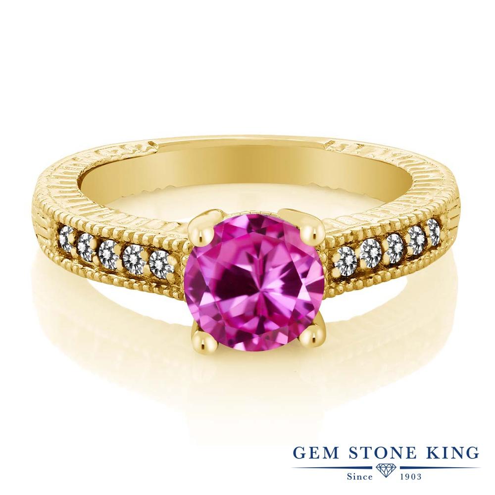 【10%OFF】 Gem Stone King 1.83カラット 合成ピンクサファイア 天然 ダイヤモンド 指輪 リング レディース シルバー925 イエローゴールド 加工 大粒 マルチストーン クリスマスプレゼント 女性 彼女 妻 誕生日