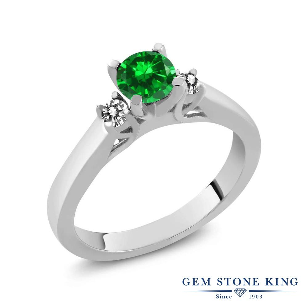 Gem Stone King 0.97カラット ナノエメラルド 天然 ダイヤモンド シルバー925 指輪 リング レディース スリーストーン シンプル 金属アレルギー対応 誕生日プレゼント