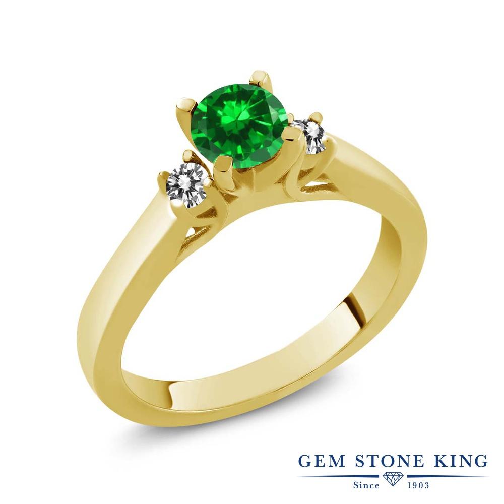 Gem Stone King 0.97カラット ナノエメラルド 天然 ダイヤモンド シルバー925 イエローゴールドコーティング 指輪 リング レディース スリーストーン シンプル 金属アレルギー対応 誕生日プレゼント
