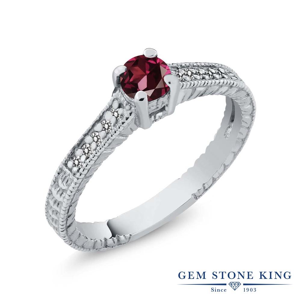 Gem Stone King 0.31カラット 天然 ロードライトガーネット 天然 ダイヤモンド シルバー925 指輪 リング レディース 小粒 マルチストーン 華奢 細身 天然石 金属アレルギー対応 誕生日プレゼント