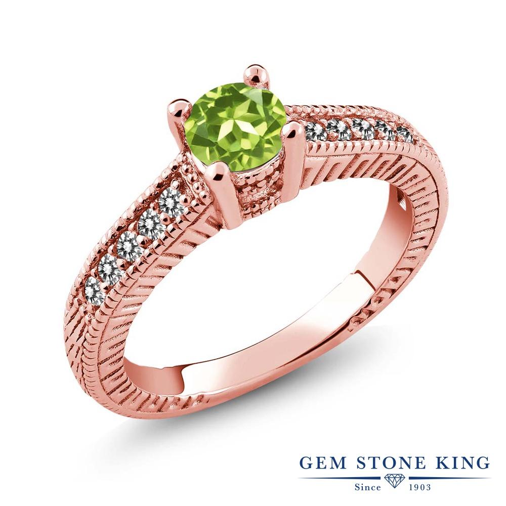 Gem Stone King 0.77カラット 天然石 ペリドット 天然 ダイヤモンド シルバー925 ピンクゴールドコーティング 指輪 リング レディース マルチストーン 天然石 8月 誕生石 金属アレルギー対応 誕生日プレゼント