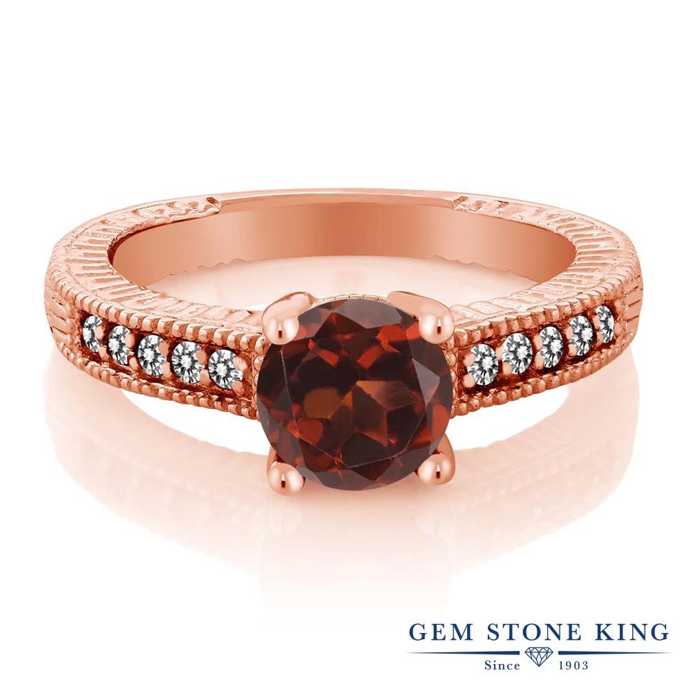 【10%OFF】 Gem Stone King 1.67カラット 天然 ガーネット ダイヤモンド 指輪 リング レディース シルバー925 ピンクゴールド 加工 大粒 マルチストーン 天然石 1月 誕生石 婚約指輪 エンゲージリング