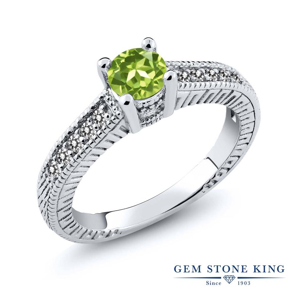 Gem Stone King 0.77カラット 天然石 ペリドット 天然 ダイヤモンド シルバー925 指輪 リング レディース マルチストーン 天然石 8月 誕生石 金属アレルギー対応 婚約指輪 エンゲージリング