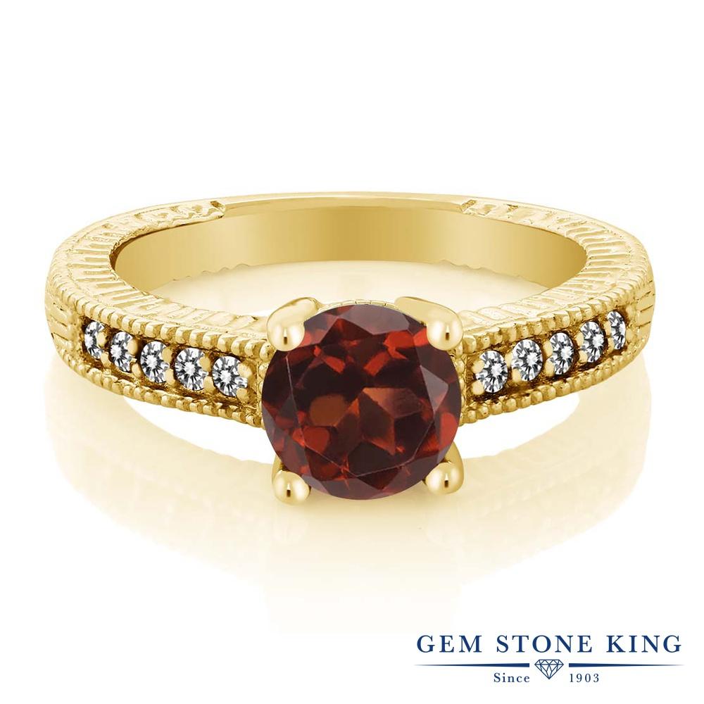 【10%OFF】 Gem Stone King 1.67カラット 天然 ガーネット ダイヤモンド 指輪 リング レディース シルバー925 イエローゴールド 加工 大粒 マルチストーン 天然石 1月 誕生石 クリスマスプレゼント 女性 彼女 妻 誕生日