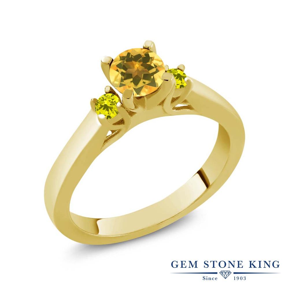 Gem Stone King 0.58カラット 天然 シトリン 天然 イエローダイヤモンド シルバー925 イエローゴールドコーティング 指輪 リング レディース 小粒 スリーストーン シンプル 天然石 11月 誕生石 金属アレルギー対応 誕生日プレゼント