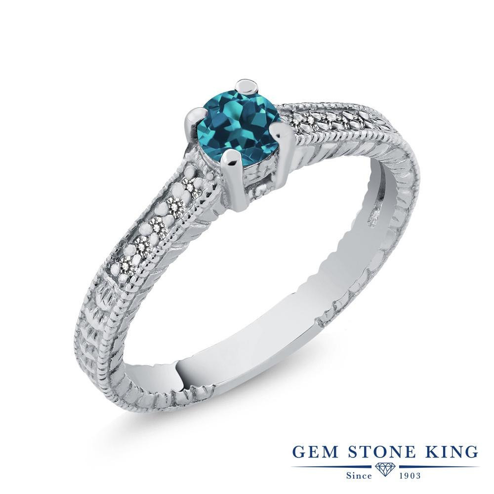 Gem Stone King 0.42カラット 天然 ロンドンブルートパーズ 天然 ダイヤモンド シルバー925 指輪 リング レディース 小粒 マルチストーン 華奢 細身 天然石 11月 誕生石 金属アレルギー対応 誕生日プレゼント