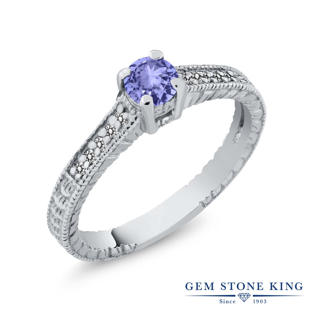 Gem Stone King 0.42カラット 天然石 タンザナイト 天然 ダイヤモンド シルバー925 指輪 リング レディース 小粒 マルチストーン 華奢 細身 天然石 12月 誕生石 金属アレルギー対応 婚約指輪 エンゲージリング