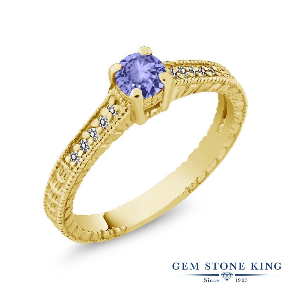 Gem Stone King 0.42カラット 天然石 タンザナイト 天然 ダイヤモンド シルバー925 イエローゴールドコーティング 指輪 リング レディース 小粒 マルチストーン 華奢 細身 天然石 12月 誕生石 金属アレルギー対応 誕生日プレゼント