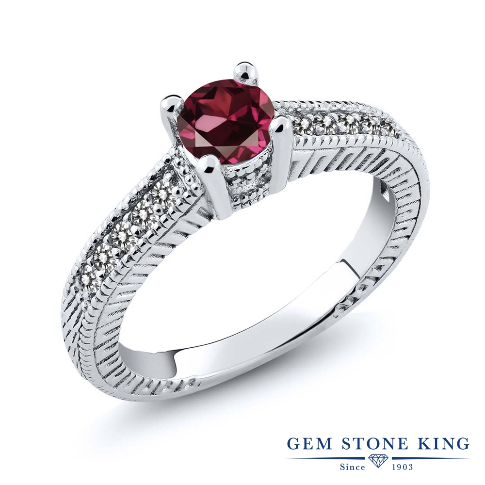 Gem Stone King 0.81カラット 天然 ロードライトガーネット 天然 ダイヤモンド シルバー925 指輪 リング レディース マルチストーン 天然石 金属アレルギー対応 誕生日プレゼント
