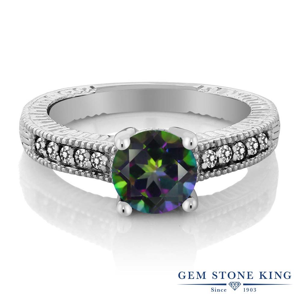 Gem Stone King 1.67カラット 天然石 ミスティックトパーズ (グリーン) 天然 ダイヤモンド シルバー925 指輪 リング レディース 大粒 マルチストーン 天然石 金属アレルギー対応 婚約指輪 エンゲージリング