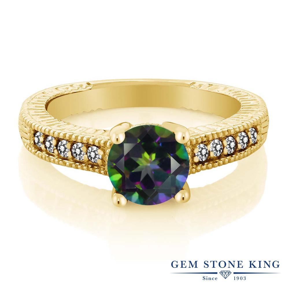 Gem Stone King 1.67カラット 天然石 ミスティックトパーズ (グリーン) 天然 ダイヤモンド シルバー925 イエローゴールドコーティング 指輪 リング レディース 大粒 マルチストーン 天然石 金属アレルギー対応 誕生日プレゼント