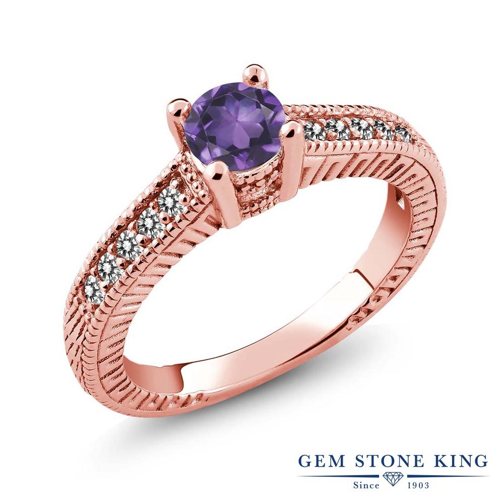 Gem Stone King 0.62カラット 天然 アメジスト 天然 ダイヤモンド シルバー925 ピンクゴールドコーティング 指輪 リング レディース 小粒 マルチストーン 天然石 2月 誕生石 金属アレルギー対応 誕生日プレゼント