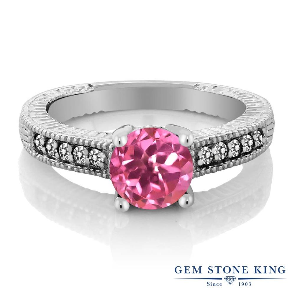 Gem Stone King 1.72カラット 天然 ミスティックトパーズ (ピンク) 天然 ダイヤモンド シルバー925 指輪 リング レディース 大粒 マルチストーン 天然石 金属アレルギー対応 婚約指輪 エンゲージリング