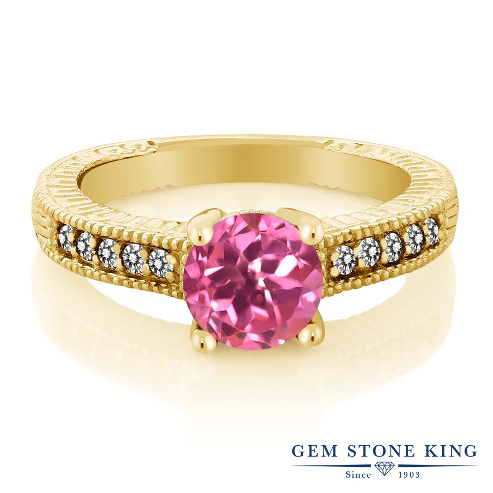 Gem Stone King 1.72カラット 天然 ミスティックトパーズ (ピンク) 天然 ダイヤモンド シルバー925 イエローゴールドコーティング 指輪 リング レディース 大粒 マルチストーン 天然石 金属アレルギー対応 誕生日プレゼント