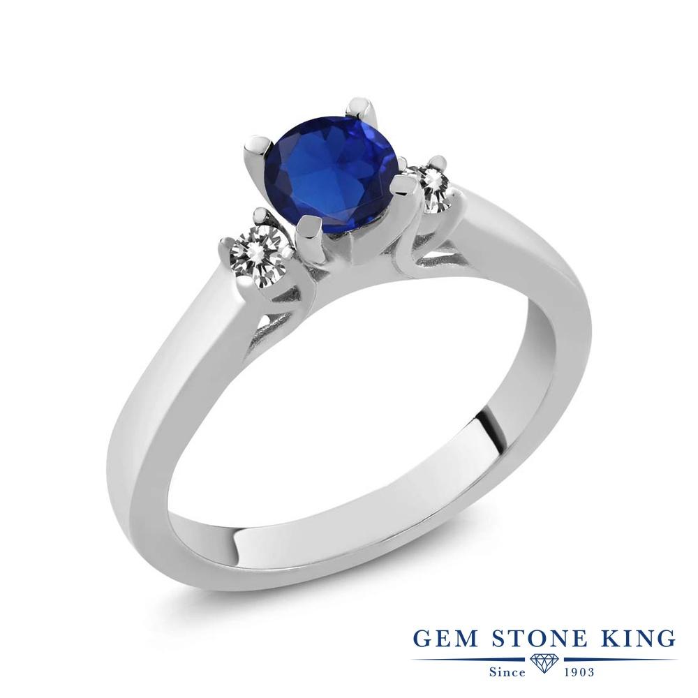 Gem Stone King 0.68カラット シミュレイテッド サファイア 天然 ダイヤモンド シルバー925 指輪 リング レディース スリーストーン シンプル 金属アレルギー対応 誕生日プレゼント