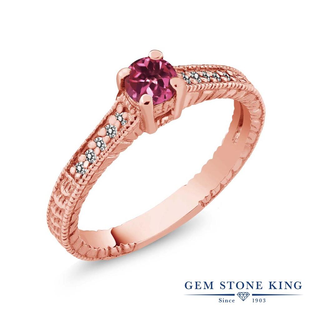 Gem Stone King 0.31カラット 天然 ピンクトルマリン 天然 ダイヤモンド シルバー925 ピンクゴールドコーティング 指輪 リング レディース 小粒 マルチストーン 華奢 細身 天然石 10月 誕生石 金属アレルギー対応 誕生日プレゼント