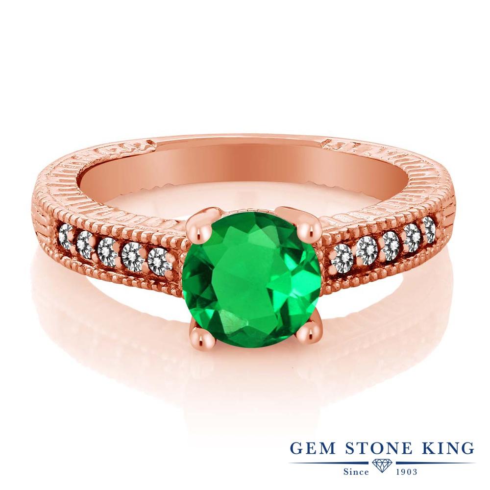 【10%OFF】 Gem Stone King 1.39カラット ナノエメラルド 天然 ダイヤモンド 指輪 リング レディース シルバー925 ピンクゴールド 加工 大粒 マルチストーン クリスマスプレゼント 女性 彼女 妻 誕生日