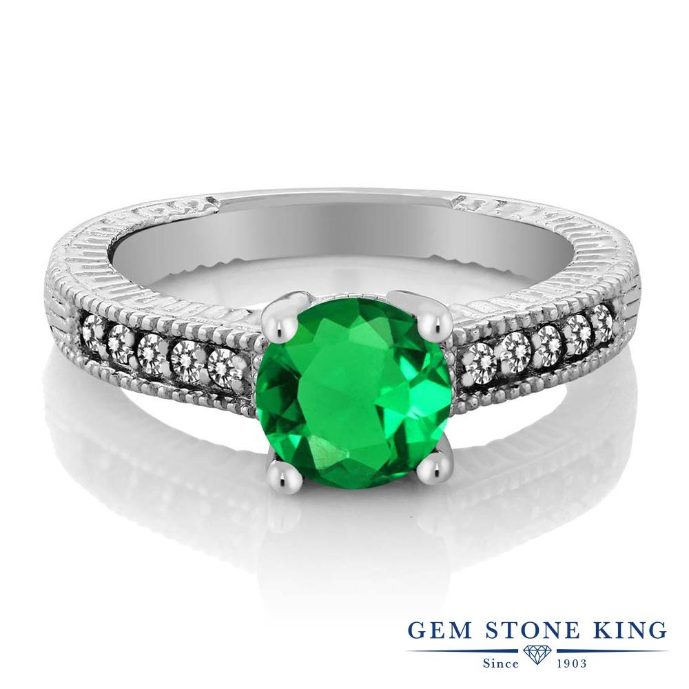1.39カラット ナノエメラルド 指輪 レディース リング 天然 ダイヤモンド シルバー925 ブランド おしゃれ 細工 緑 大粒 マルチストーン 婚約指輪 エンゲージリング