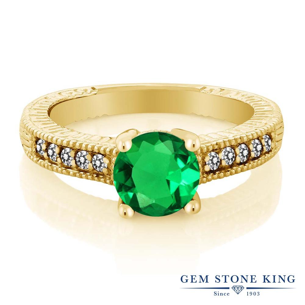 【10%OFF】 Gem Stone King 1.39カラット ナノエメラルド 天然 ダイヤモンド 指輪 リング レディース シルバー925 イエローゴールド 加工 大粒 マルチストーン クリスマスプレゼント 女性 彼女 妻 誕生日