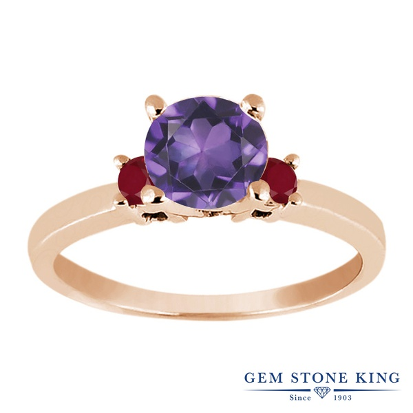 【10%OFF】 Gem Stone King 0.99カラット 天然 アメジスト ルビー 指輪 リング レディース シルバー925 ピンクゴールド 加工 アメシスト シンプル スリーストーン 天然石 2月 誕生石 婚約指輪 エンゲージリング