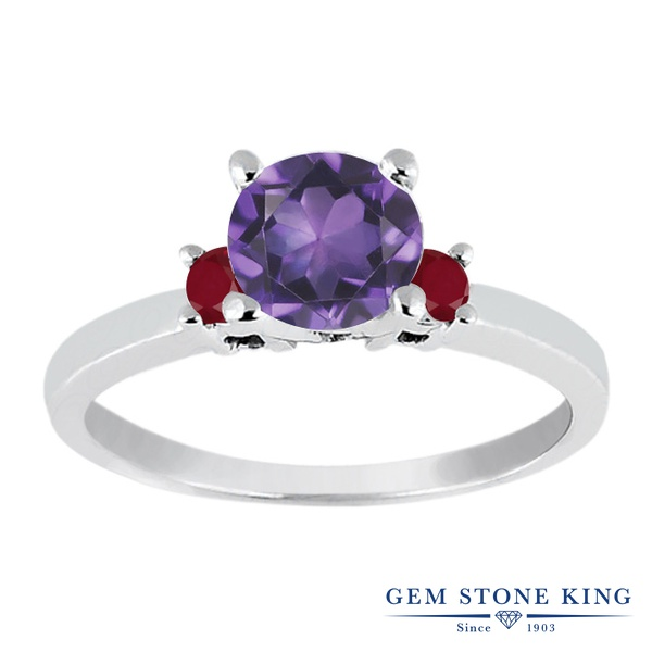 0.99カラット 天然 アメジスト 指輪 レディース リング ルビー シルバー925 ブランド おしゃれ アメシスト 紫 シンプル スリーストーン 天然石 2月 誕生石 婚約指輪 エンゲージリング
