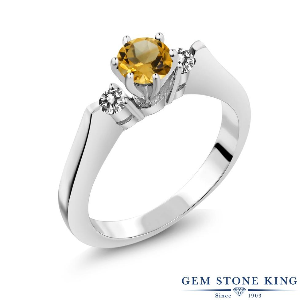 Gem Stone King 0.58カラット 天然 シトリン 天然 ダイヤモンド シルバー925 指輪 リング レディース 小粒 スリーストーン シンプル 天然石 11月 誕生石 金属アレルギー対応 誕生日プレゼント