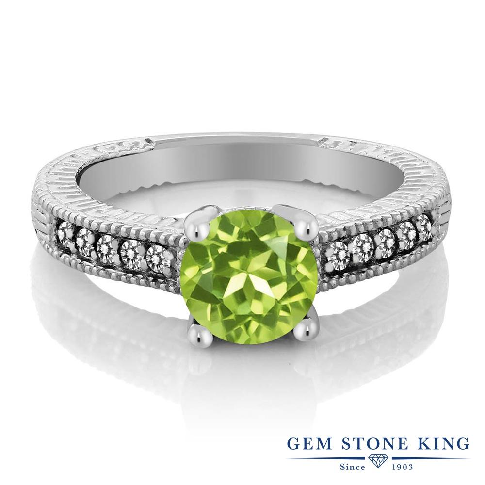 1.52カラット 天然石 ペリドット 指輪 レディース リング 天然 ダイヤモンド シルバー925 ブランド おしゃれ 細工 緑 大粒 マルチストーン 8月 誕生石 婚約指輪 エンゲージリング