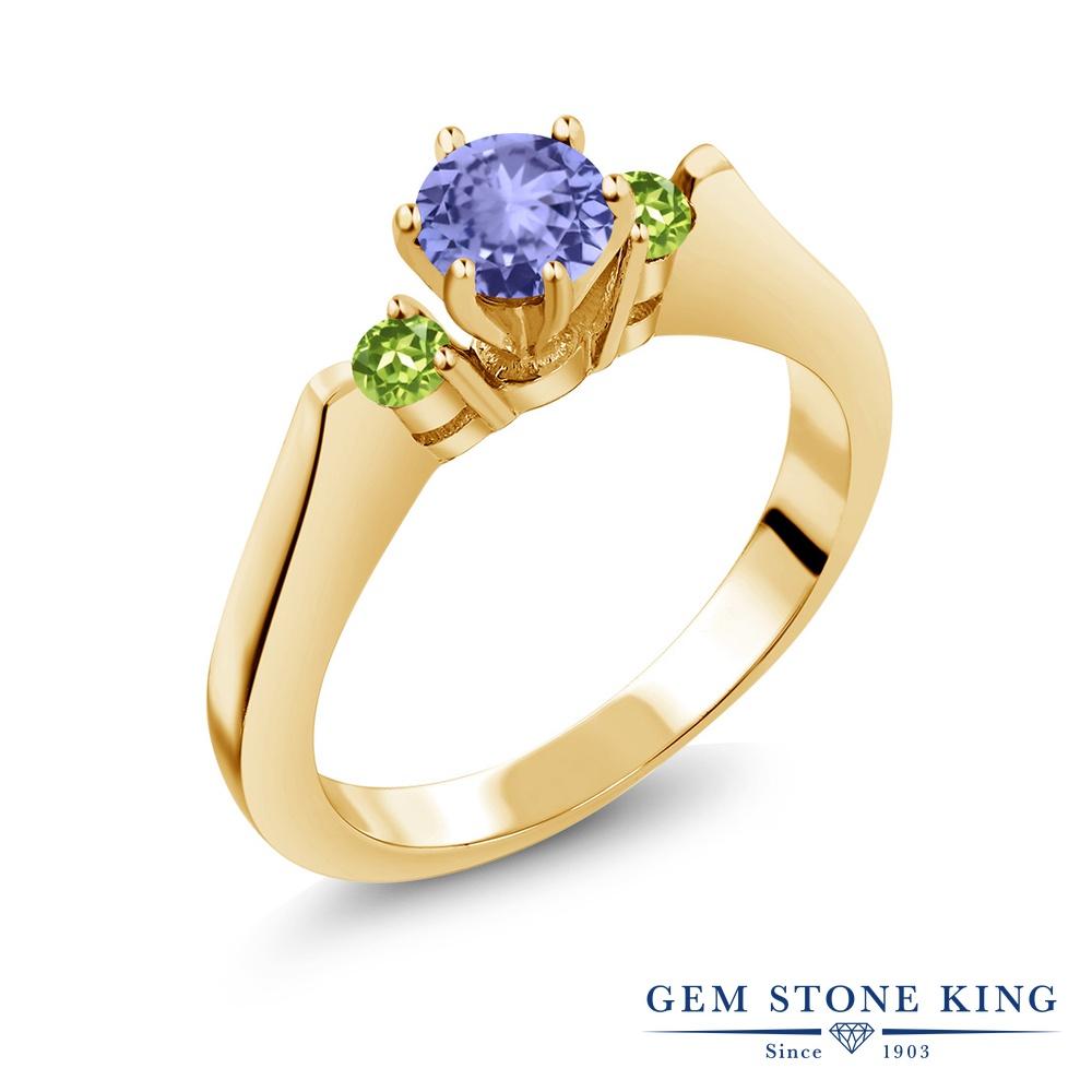 Gem Stone King 0.6カラット 天然石 タンザナイト 天然石 ペリドット シルバー925 イエローゴールドコーティング 指輪 リング レディース 小粒 スリーストーン シンプル 天然石 12月 誕生石 金属アレルギー対応 誕生日プレゼント