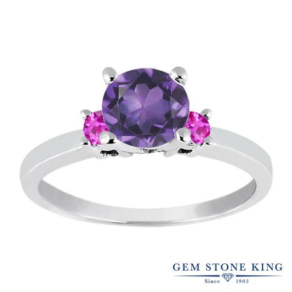 Gem Stone King 0.91カラット 天然 アメジスト 天然 ピンクサファイア シルバー925 指輪 リング レディース シンプル スリーストーン 天然石 2月 誕生石 金属アレルギー対応 婚約指輪 エンゲージリング