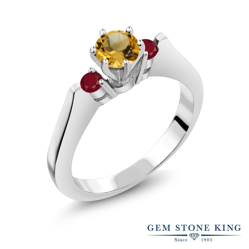 Gem Stone King 0.69カラット 天然 シトリン 天然 ルビー シルバー925 指輪 リング レディース 小粒 スリーストーン シンプル 天然石 11月 誕生石 金属アレルギー対応 誕生日プレゼント