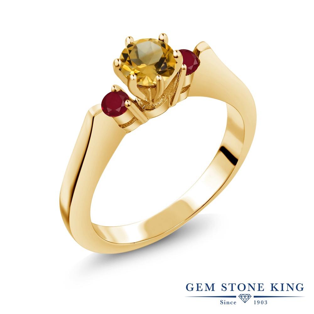 Gem Stone King 0.69カラット 天然 シトリン 天然 ルビー シルバー925 イエローゴールドコーティング 指輪 リング レディース 小粒 スリーストーン シンプル 天然石 11月 誕生石 金属アレルギー対応 誕生日プレゼント