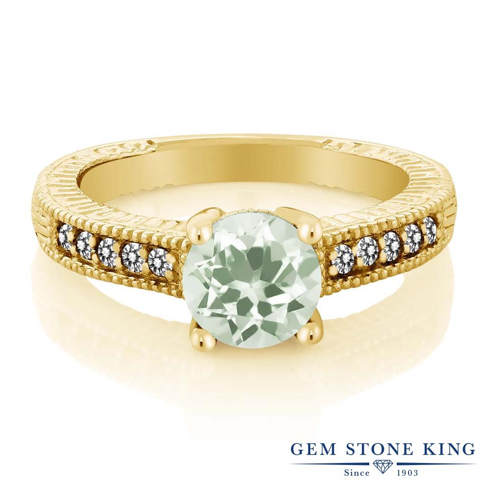 Gem Stone King 1.42カラット 天然 プラジオライト (グリーンアメジスト) 天然 ダイヤモンド シルバー925 イエローゴールドコーティング 指輪 リング レディース 大粒 マルチストーン 天然石 金属アレルギー対応 誕生日プレゼント