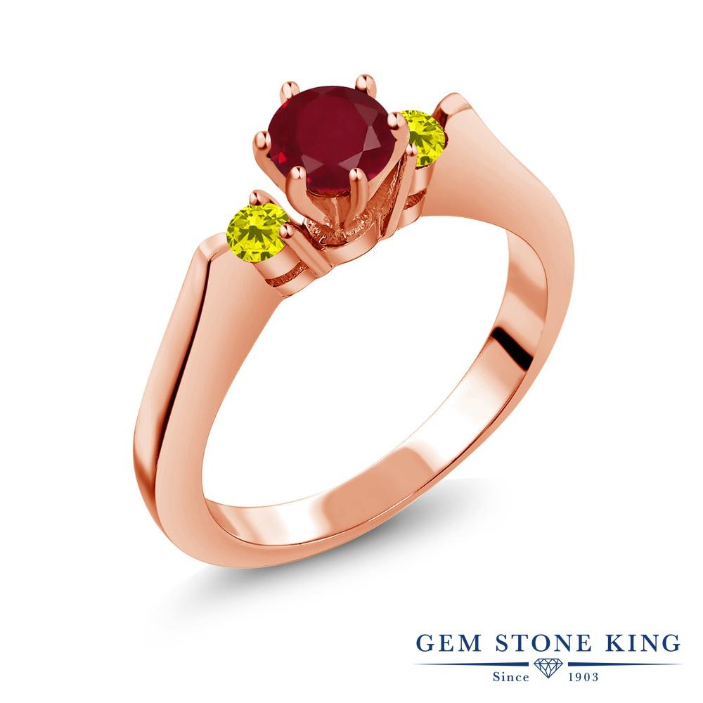 Gem Stone King 0.69カラット 天然 ルビー 天然 イエローダイヤモンド シルバー925 ピンクゴールドコーティング 指輪 リング レディース スリーストーン シンプル 天然石 7月 誕生石 金属アレルギー対応 誕生日プレゼント
