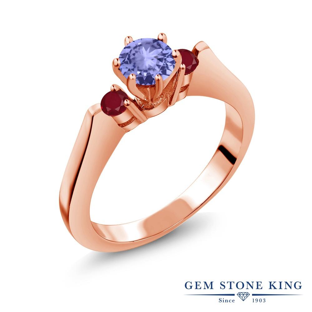 Gem Stone King 0.7カラット 天然石 タンザナイト 天然 ルビー シルバー925 ピンクゴールドコーティング 指輪 リング レディース 小粒 スリーストーン シンプル 天然石 12月 誕生石 金属アレルギー対応 誕生日プレゼント