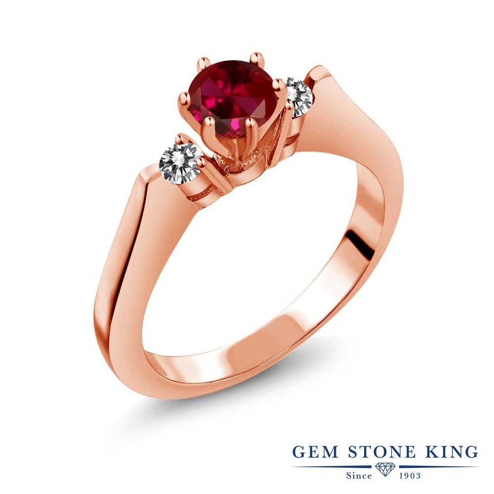 Gem Stone King 0.73カラット 合成ルビー 天然 ダイヤモンド シルバー925 ピンクゴールドコーティング 指輪 リング レディース スリーストーン シンプル 金属アレルギー対応 誕生日プレゼント
