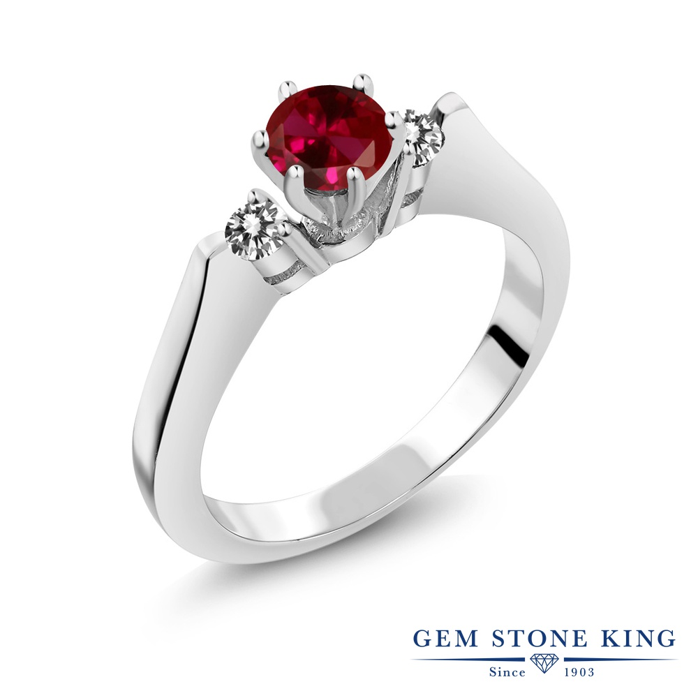 Gem Stone King 0.73カラット 合成ルビー 天然 ダイヤモンド シルバー925 指輪 リング レディース スリーストーン シンプル 金属アレルギー対応 誕生日プレゼント