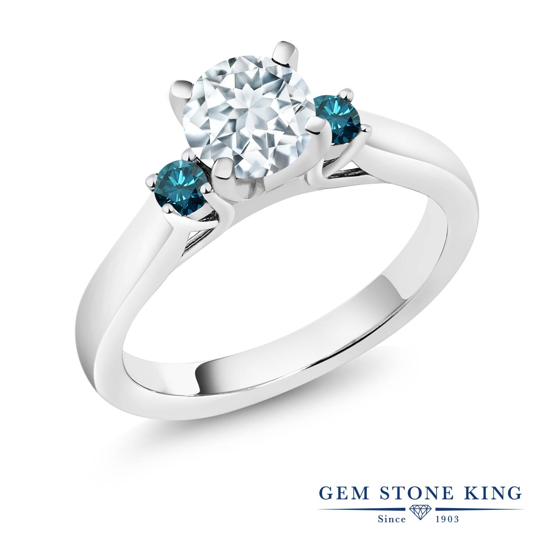 0.95カラット 天然 アクアマリン 指輪 レディース リング ブルーダイヤモンド シルバー925 ブランド おしゃれ スリーストーン 水色 シンプル 天然石 3月 誕生石 婚約指輪 エンゲージリング