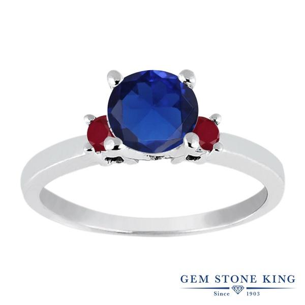 【10%OFF】 Gem Stone King 1.24カラット シミュレイテッド サファイア 天然 ルビー 指輪 リング レディース シルバー925 大粒 シンプル スリーストーン 婚約指輪 エンゲージリング