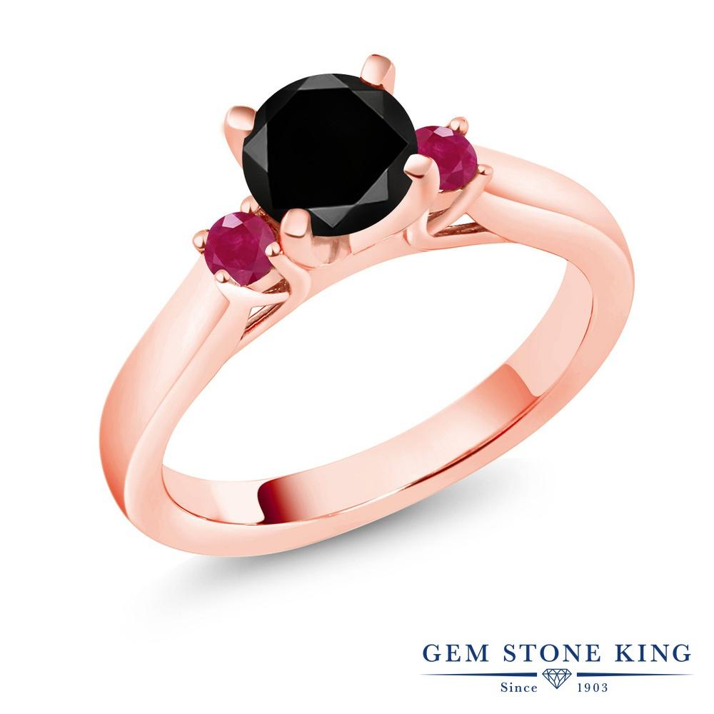 1.33カラット ブラックダイヤモンド 指輪 レディース リング ルビー ピンクゴールド 加工 シルバー925 ブランド おしゃれ スリーストーン ブラック ダイヤ 黒 大粒 シンプル 天然石 4月 誕生石 婚約指輪 エンゲージリング