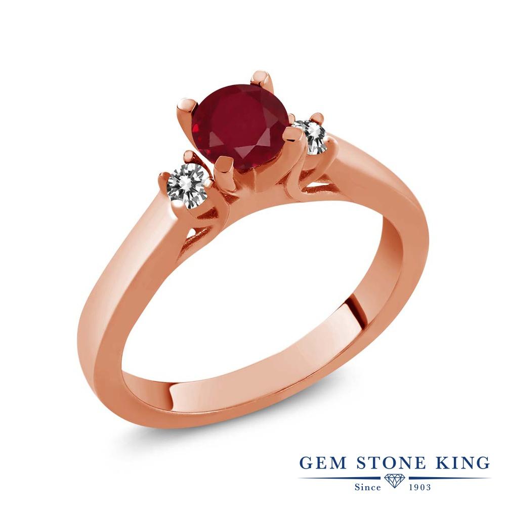 Gem Stone King 0.69カラット 天然 ルビー 天然 ダイヤモンド シルバー925 ピンクゴールドコーティング 指輪 リング レディース スリーストーン シンプル 天然石 7月 誕生石 金属アレルギー対応 誕生日プレゼント
