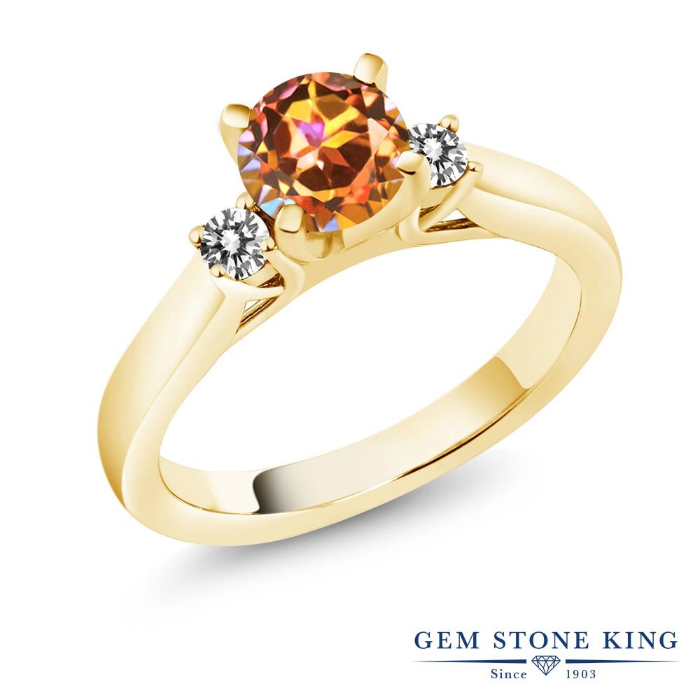 Gem Stone King 1.2カラット 天然石 エクスタシーミスティックトパーズ 天然 ダイヤモンド シルバー925 イエローゴールドコーティング 指輪 リング レディース 大粒 スリーストーン シンプル 天然石 金属アレルギー対応 誕生日プレゼント