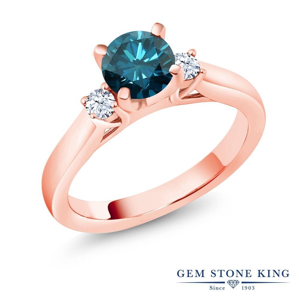 0.9カラット 天然 ブルーダイヤモンド 指輪 レディース リング 合成ホワイトサファイア ピンクゴールド 加工 シルバー925 ブランド おしゃれ ブルー ダイヤ 青 シンプル スリーストーン 天然石 4月 誕生石 婚約指輪 エンゲージリング
