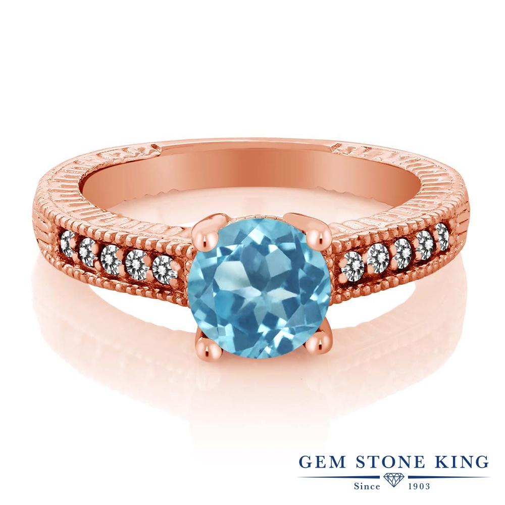 Gem Stone King 1.72カラット 天然 スイスブルートパーズ 天然 ダイヤモンド シルバー925 ピンクゴールドコーティング 指輪 リング レディース 大粒 マルチストーン 天然石 11月 誕生石 金属アレルギー対応 誕生日プレゼント