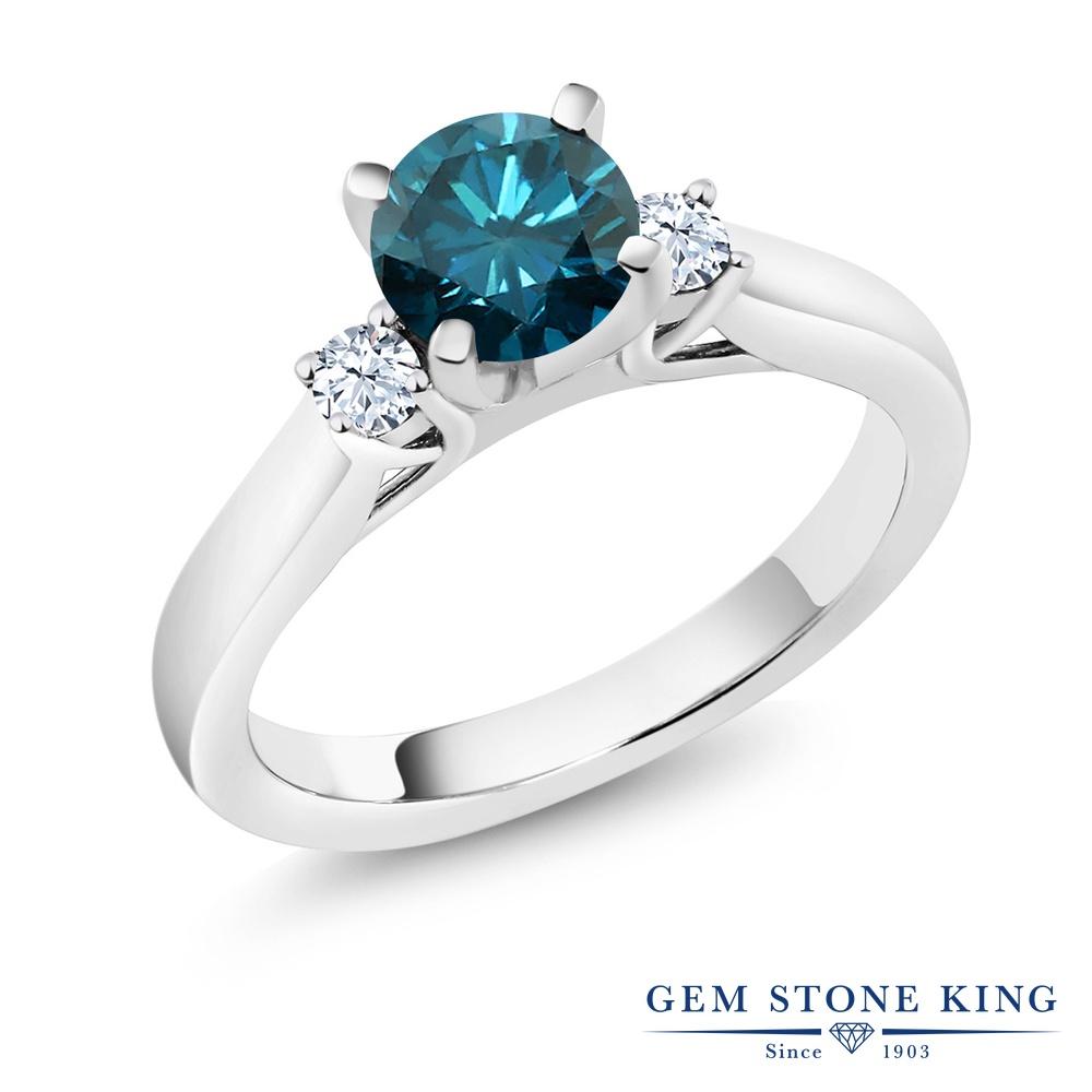 0.9カラット 天然 ブルーダイヤモンド 指輪 レディース リング 合成ホワイトサファイア シルバー925 ブランド おしゃれ ブルー ダイヤ 青 シンプル スリーストーン 天然石 4月 誕生石 婚約指輪 エンゲージリング