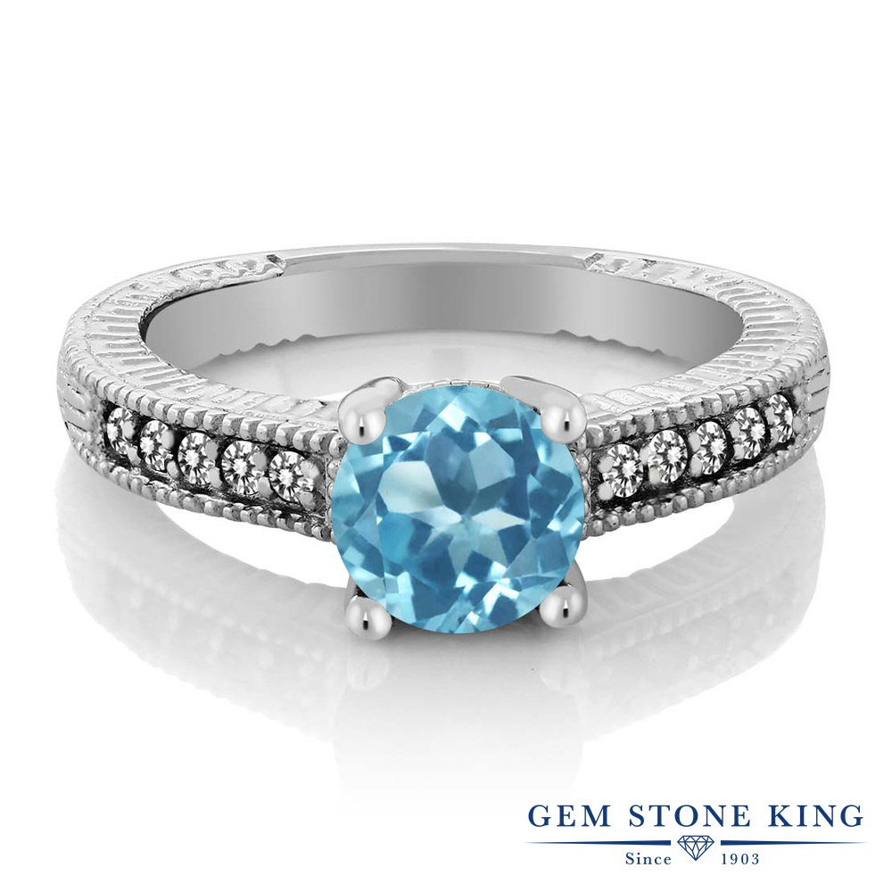 Gem Stone King 1.72カラット 天然 スイスブルートパーズ 天然 ダイヤモンド シルバー925 指輪 リング レディース 大粒 マルチストーン 天然石 11月 誕生石 金属アレルギー対応 婚約指輪 エンゲージリング