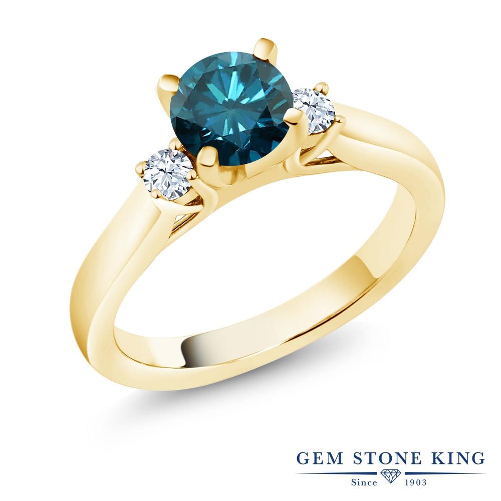 0.9カラット 天然 ブルーダイヤモンド 指輪 レディース リング 合成ホワイトサファイア イエローゴールド 加工 シルバー925 ブランド おしゃれ ブルー ダイヤ 青 シンプル スリーストーン 天然石 4月 誕生石 婚約指輪 エンゲージリング
