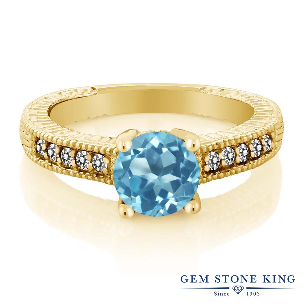 Gem Stone King 1.72カラット 天然 スイスブルートパーズ 天然 ダイヤモンド シルバー925 イエローゴールドコーティング 指輪 リング レディース 大粒 マルチストーン 天然石 11月 誕生石 金属アレルギー対応 誕生日プレゼント